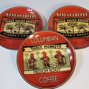 "BIA Coffee Themed 7"" Plates Monkey Palm Trees"